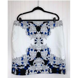 Worthington White Blue & Black Pencil Skirt, 18W